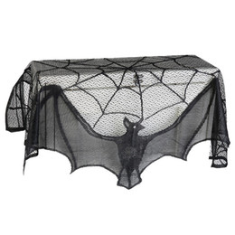 Chinese  93*57cm Black Lace Spiderweb Bat Fireplace Mantle Scarf Cover Curtains Shades Party Supplies Party Hanging Halloween Decoration manufacturers