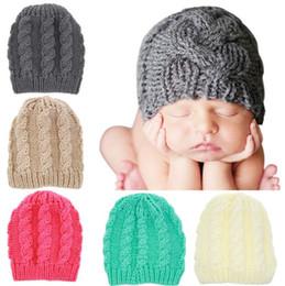 Discount baby girl knitted winter bonnets - Newborn Knit Beanie Hats Baby Boy Girls Wool Crochet Caps Toddler Kid Cotton Wraps Infant Unisex Hair Accessories Photog