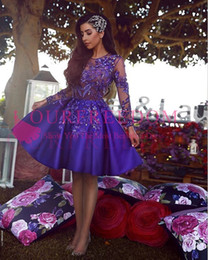 red shining short dress Australia - 2019 Said Mhamad Purple Short Homecoming Dresses Shining Beaded Appliques Long Sleeve Formal Evening Occasion Dresses Custom Made Hot Sale