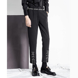 $enCountryForm.capitalKeyWord NZ - M-3XL Autumn and winter nine points small trousers men's trend metal tassel decoration hair stylist nightclub pants Costumes
