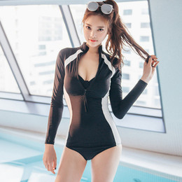 e64c5b5b8eb74 New Arrivals Patchwork Long Sleeve Women Bikini Korean Style Underwire One-piece  Swimwear Plus Size Swim Bathing Suit 63711