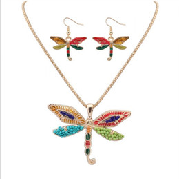 $enCountryForm.capitalKeyWord UK - Colorful Beaded Enamel Dragonfly Dolphin Starfish Pendant Dangle Necklace Hook Earrings Sets Wholesale fit Garment Suit for Female Lady Girl