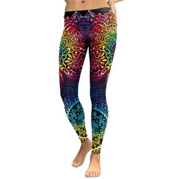c6affdd2d090a Slim Leggings Women Mandala Flower 3D Transfer Printing Gradient Fitness  Leggins High Waist Trousers Pant Free Shipping Wholesale