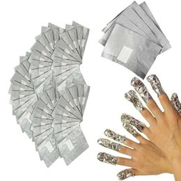 China Sell Hot 100Pcs Lot Aluminium Foil Nail Art Soak Off Acrylic Gel Polish Nail Removal Wraps with Cotton Pad Remover Makeup Tool Nail Carel suppliers