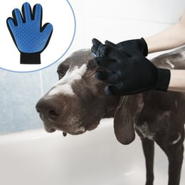 Hair Glove NZ - Free shipping AGI-223 pet hair glove Comb Pet Dog Cat Grooming Cleaning Glove Deshedding left Right Hand Hair Removal Brush Promote Blood Ci