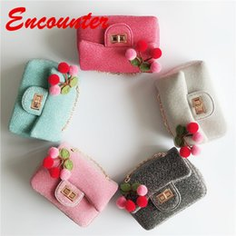 Wholesale Encounter Lovely Stylish Cherry Shoulder Bags for Childrens Baby girls Summer Vacation bags Kids Cross body bag Little Kid Coin Purse EN121