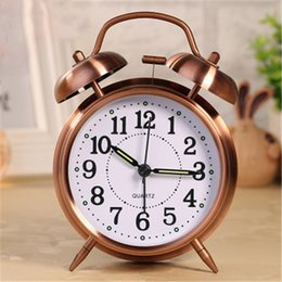 $enCountryForm.capitalKeyWord NZ - 2018 hot sale creative metal texture mute luminous alarm clock seconds movement classic double bell ring bell