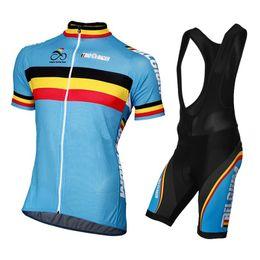 Sportwear Men Belgium Flag blue short sleeve cycling jersey set 2017 pro  team summer Quick dry mtb clothing racin clothing Ropa ciclismo Hot 3abeafd55