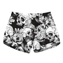 ef28f26759 Women Short Beach Shorts Skull White Flower 3D Full Print Girl Casual Swimming  Shorts Lady Digital Beach Pants Boardshort (RLLbp-6023)