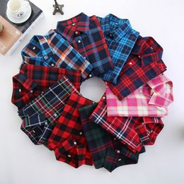 df5bd5d2889 Casual Women s Plaid Shirts ladies Check Blouses long-sleeved  Single-breasted Turn Down Collar 3XL Preppy Style Cardigan Spring