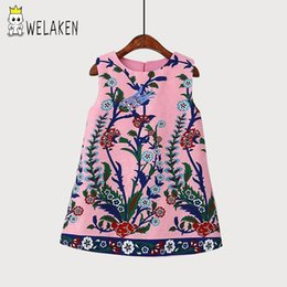 $enCountryForm.capitalKeyWord UK - 2017 Spring Kids Girls Dress Vestido Infantil Europe And The Peacock Flower Printed Vest Child Dress Kids Clothes Dress