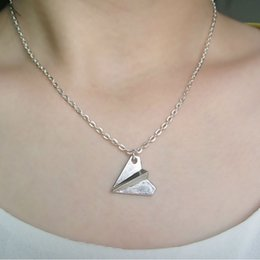 Discount one direction paper airplane necklace Stylish Unisex Choker Paper Airplane Pendant Adjustable Chain Beach Jewelry One Direction