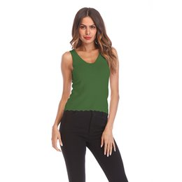91590d9023 Fashion Sleeveless Vest Fitness Femme T shirt Knitting Cropped Camisole Tees  Solid Color Sexy Female Cotton Tank Tops.