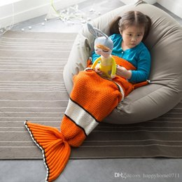 Wholesale Cute Cartoon Clown Fish Child Knitting Tail blanket High quality Soft comfortable cm cm Portable Travel Blanket