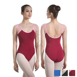 Wholesale lycra costumes for women for sale – halloween Adult leotard ballet costumes for girls cotton lycra gymanstics leotards dance clothes with mesh burgundy CS0703