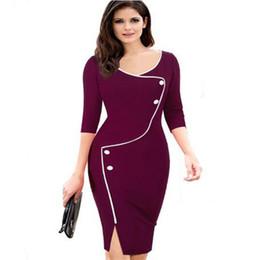 819a3fbad Más el tamaño 3XL vestido de verano patchwork vintage negro trabajo de  oficina vestidos de las mujeres 3 4 envoltura de la manga bodycon lápiz vestido  de ...