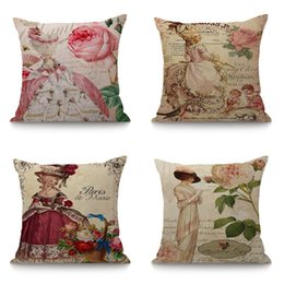 $enCountryForm.capitalKeyWord UK - European Lady's Portrait in Hat Retro Throw Pillows For Home Car Chair Decorative Cushion Fashionable Pillow Home Decor 45x45cm