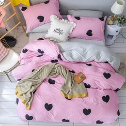 cartoon shaped beds NZ - Cartoon Pink Heart-shaped Bedding Sets 3 4pcs Geometric Pattern Bed Linings Duvet Cover Bed Sheet Pillowcases Cover Set