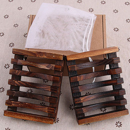 Retail tRay online shopping - 2pcs set New Vintage Wooden Soap Dish Plate Tray Holder Wood Soap Dish Holders Bathroon Accessories With Retail Box WX9