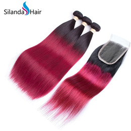 $enCountryForm.capitalKeyWord Australia - Silanda Hair Nice Ombre Color #T 1B Burgundy Brazilian Remy Straight Human Hair Weave 3 Weaving Bundles With 4X4 Lace Closure Free Shipping