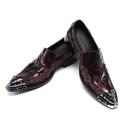 $enCountryForm.capitalKeyWord Canada - Mens Red Floral Printed Wedding Shoes Genuine Leather Handmade Oxfords Shoes Formal Business Suit Dress Shoes