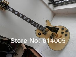 ElEctric guitar shipping box online shopping - cream yellow color Les CUSTOM guitar with Mahogany body and neck Electric guitar Foam box packaging with hardcase