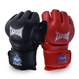 Boxing gloves mitts online shopping - Mma Gloves Half Finger Boxing Gloves MMA UFC Sparring Grappling Fight Punch Ultimate Mitts Leather Glove Protective Gear Fitness