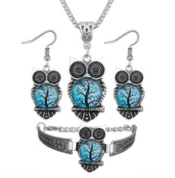 hand blue eye pendant 2019 - Printing resin Royal blue eye owl necklace Hand catenary Stud earrings Necklace three-piece women Jewelry + Free shippin