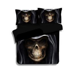 king size double beds 2019 - 3D Skull Bed Linen Children Double Bedding Set Black Duvet Cover Twin King Queen Size Evil Style Suger Skull Bedding Clo