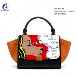 bc5b5fbcc6 Painted Bags NZ - 100% Genuine Leather Luxury Handbag Women Bags Designer  Hand Painted POP
