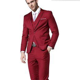 5266f50b7abab Stylish men suits elegant gentleman groom suit tuxedos custom made red lapel  one button wedding suits(jacket+vest+pants)