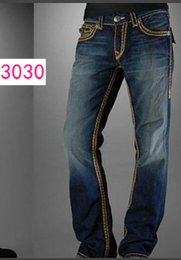 Wholesale Straight leg pants SS New True Elastic jeans Mens Robin Rock Revival Jeans Crystal Studs Denim Pants Designer Trousers Men s size