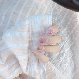 $enCountryForm.capitalKeyWord NZ - Ins beautiful gradual purple cream pure color false nails with designs Star and moon theme 3d fake nails bride full nail tips