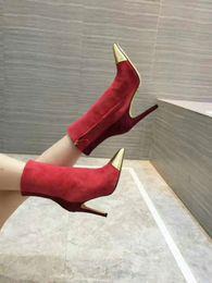 28928618 2018 Nuevo diseño de moda para mujer botas cortas de gamuza casual para  mujer al aire libre, cuero suave, rojo, tacones finos atractivos, punta  puntiaguda, ...