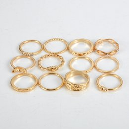 Lucky packs online shopping - Bohemian Style Pack Vintage Gold Color Rings Rhinestone Lucky Rings Set for Women Party