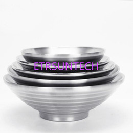 stainless steel bowls UK - 304 Stainless Steel Bowl 20cm Large Double Layers Rice Noodle Soup Bowls Food Container For Family Restaurants QW7739