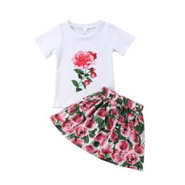 kids girls skirts top dress 2019 - 2018 Toddler Kid Baby GirlS Outfits Clothes T-shirt Tops+Floral Dress Skirt 2PCS Sets Kids Clothing Wholesale Boutique C