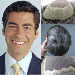 $enCountryForm.capitalKeyWord Australia - Grey Human Hair Toupees For Men Thin Poly Mens Toupee Fine Mono Center With Pu around Hairpiece Replacement System Virgin Hair Free Shipping