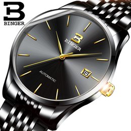 luxury ultrathin watches NZ - Switzerland BINGER Brand Men Luxury full Steel Automatic Watches Male Business Simple Ultrathin Mechanical Watch Calendar Clock