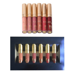 $enCountryForm.capitalKeyWord NZ - 6Pcs Waterproof Matte Liquid Lipstick Lipgloss Set Long Lasting Nude Sexy Red Liquid Lip Gloss Lip Tint Cosmetic Makeup Kit