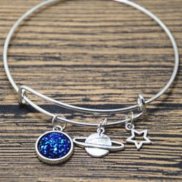 Space charmS online shopping - 12pcs Space Bangle Planet Charm Bracelet Silver Geeky Gift Galaxy Jewelry Faux Druzy Bangle
