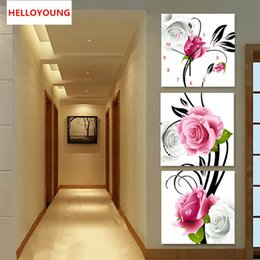 Vertical Paintings Australia - DIY Full Diamonds Embroidery Triptych flowers roses vertical version Round Diamond Painting Cross Stitch Diamond Mosaic