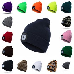 Discount wholesale nursing hats - Colorful LED Light Hat Casual Elasticity Keep Warm Knitting Cap For Men And Women Outdoor Sports Beanie Hot Sale 18fz KK