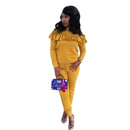 $enCountryForm.capitalKeyWord UK - Women Autumn Winter Two Piece Set Ruffle Knit Cotton Long Sleeve Casual Party Skinny Long Pants Fashion Yellow Jumpsuit 300132