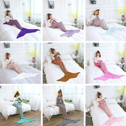 Sofa coStume online shopping - Newest Adult Mermaid Tail Quilt Blanket Knitted Crochet Wrap Costumes For Sofa Blankets Mermaid Blanket CM I311