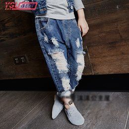 kids jeans designs Canada - Autumn Hole Boys Jeans 2017 Winter Girls Jeans Kids Pants Cartoon Pattern Design Children's Denim Trousers Kids Dark Blue Pants