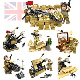 Chinese  WW2 World War II Battle of Imphal UK British Army Soldiers Mini Military Building Block Toy Figure with Weapons Toy for Boys manufacturers