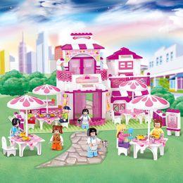 Sluban Blocks NZ - Sluban 306pcs friends Romantic Restaurant Building Blocks Enlighten toys for children action figure brinquedos