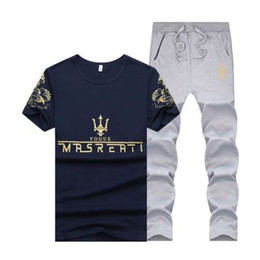 Wholesale summer sport tracksuit resale online – Summer Men Sport Tracksuit MRSREATI Printed Slim Cool Short Sleeves T shirt With Joggers Pants Casual Suit