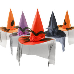 $enCountryForm.capitalKeyWord NZ - Halloween hat ghost festival adult children witch hat fancy dress props rose mesh yarn witch hat